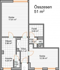 Zuglóban eladó egy 51m2-es összkomfortos étkezõs 3. emeleti lakás 5 szintes téglaházban ingatlan hirdetéshez feltöltött kép